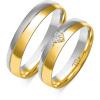 Złote obrączki z serduszkiem, soczewka - pr. 585