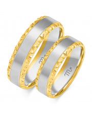 Złote obrączki diamentowane, soczewka - pr. 585